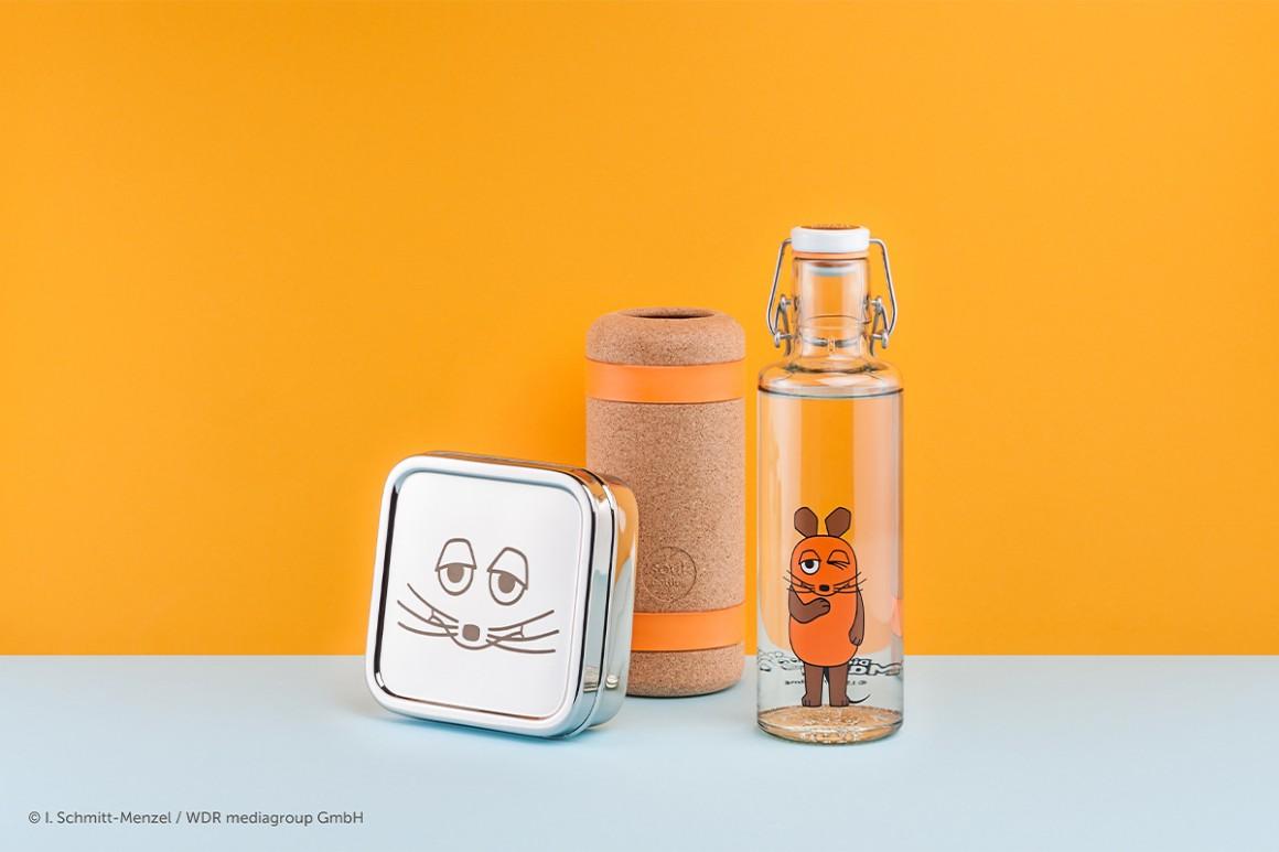 Spar-Set: Glastrinkflasche, Edelstahlbrotdose, Korkschutz orange • soulbottles