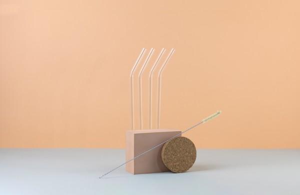 4 soulstraws gebogen + strawbrush Reinigungsbürste im Set
