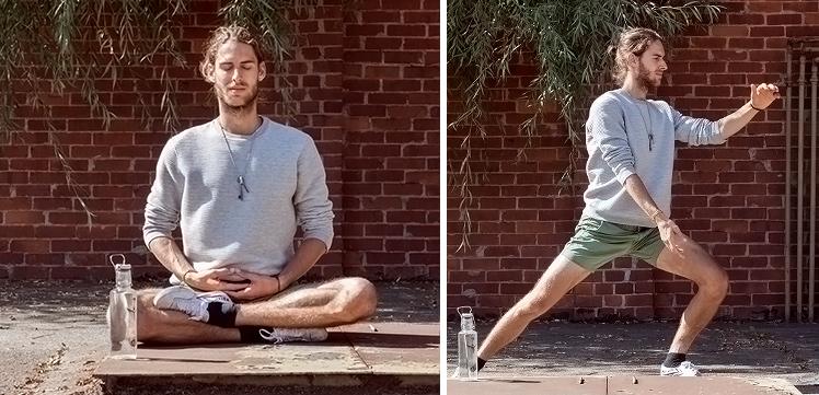 Dominik beim Meditieren und Kung Fu